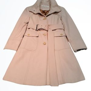Kenneth Cole Long Wool Cream Belted Pea Coat Sz 6
